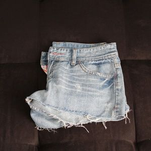 A&E raw edge jean shorts with pink accent